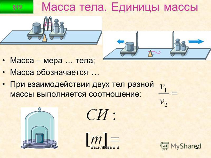 Васильева Е.В.2 Масса тела. Единицы массы Масса – мера … тела; Масса обозначается … При взаимодействии двух тел разной массы выполняется соотношение: §19