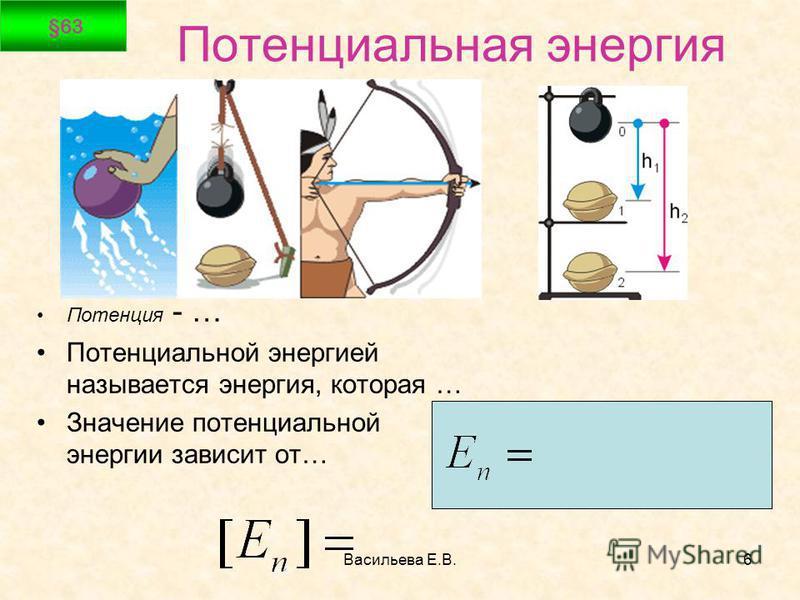 Васильева Е.В.6 Потенциальная энергия Потенция - … Потенциальной энергией называется энергия, которая … Значение потенциальной энергии зависит от… §63