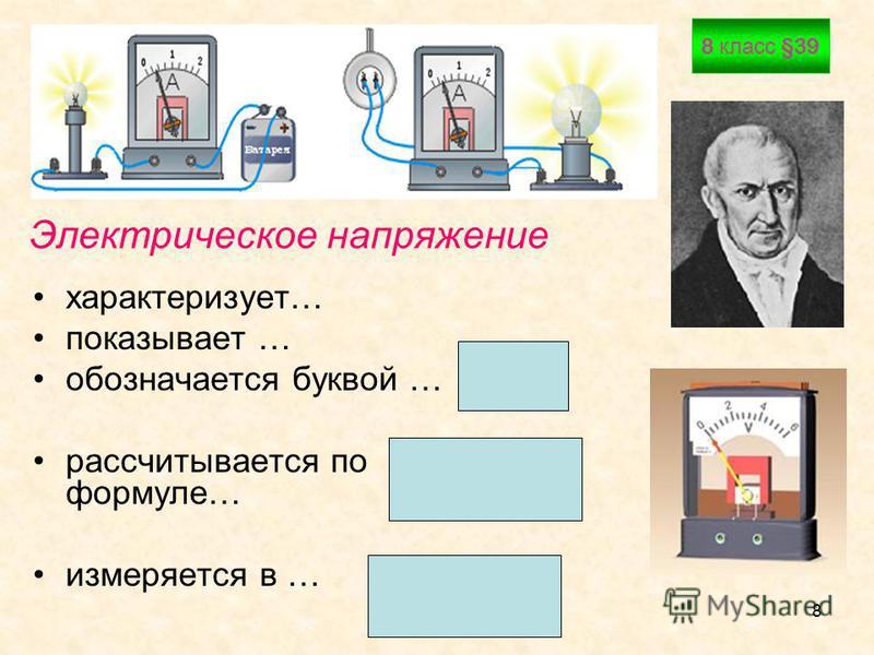 Васильева Е.В.8 Электрическое напряжение характеризует… показывает … обозначается буквой … рассчитывается по формуле… измеряется в … 8 класс §39