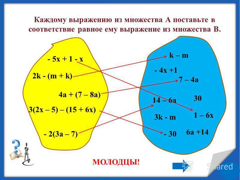 Каждому выражению из множества А поставьте в соответствие равное ему выражение из множества В. - 5x + 1 - x 2k - (m + k) 4a + (7 – 8a) - 2(3a – 7) 3(2x – 5) – (15 + 6x) 1 – 6x 7 – 4a k – m - 30 14 – 6a - 4x +1 30 3k - m 6a +14 МОЛОДЦЫ!