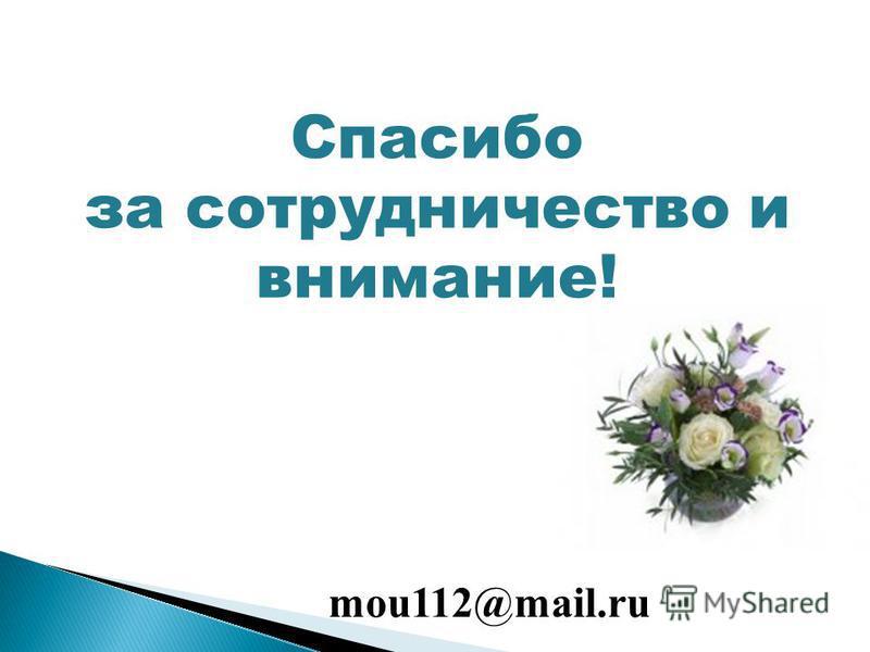 Спасибо за сотрудничество и внимание! mou112@mail.ru