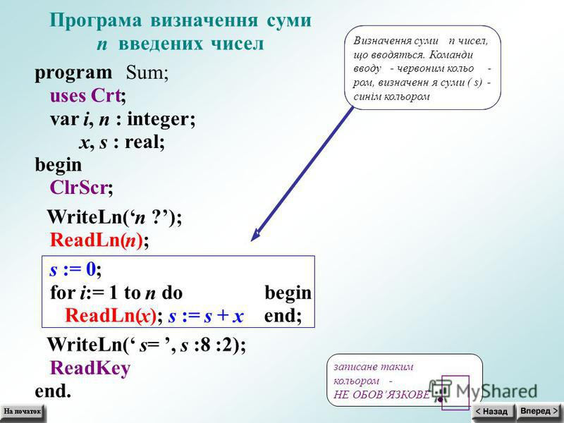 Програма визначення суми n введених чисел program Sum; uses Crt; var i, n : integer; x, s : real; begin ClrScr; WriteLn( n ?); ReadLn( n ); s := 0; for i := 1 to n do begin ReadLn( x ); s := s + x end; WriteLn( s =, s :8 :2); ReadKey end. Визначення