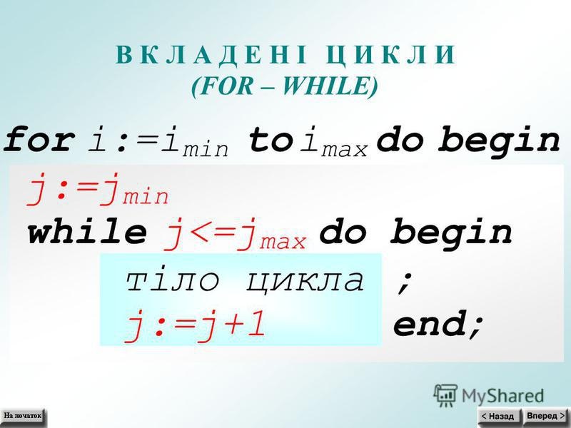 В К Л А Д Е Н І Ц И К Л И (FOR– WHILE) for i:=i min to i max do begin j:=j min while j<=j max do begin тіло цикла ; j:=j+1 end;