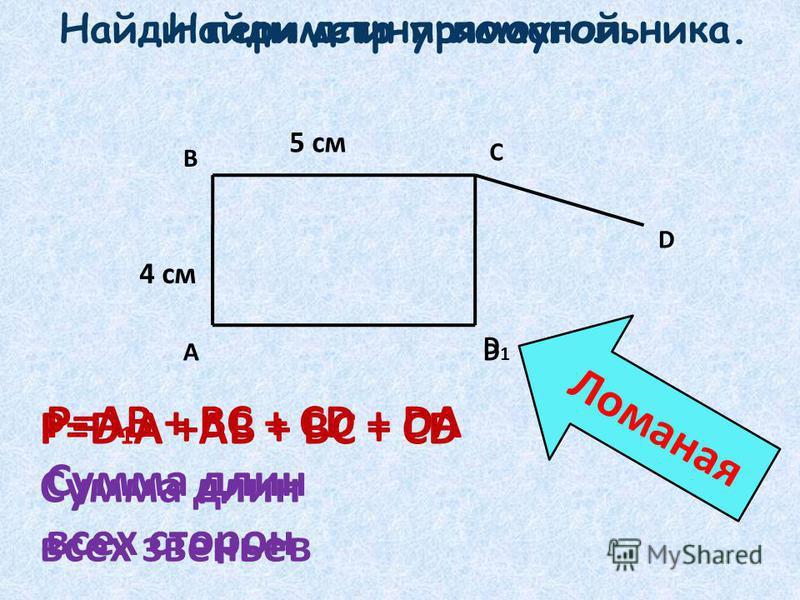 Л о м а н а я Найди длину ломаной. Найди периметр прямоугольника. А D С В D D1D1 Р=АВ + ВС + СD + DA Сумма длин всех сторон Р=D 1 A +АВ + ВС + СD Сумма длин всех звеньев 4 см 5 см