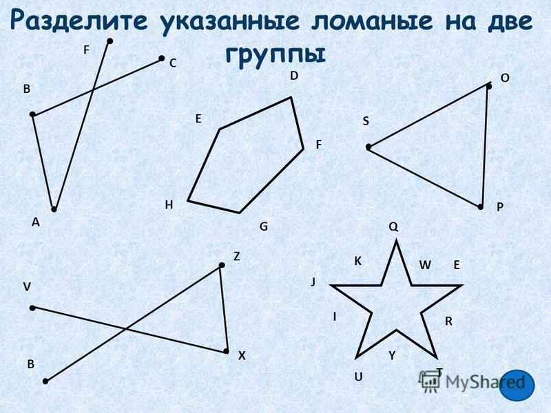Разделите указанные ломаные на две группы А D F E K J I U Y T R EW Q S P O H G В С B V X Z F
