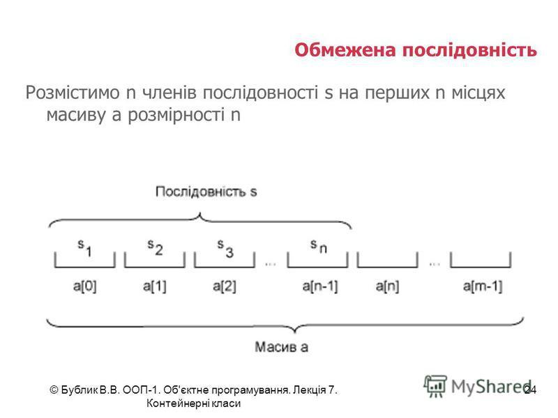 © Бублик В.В. ООП-1. Об'єктне програмування. Лекція 7. Контейнерні класи 24 Обмежена послідовність Розмістимо n членів послідовності s на перших n місцях масиву a розмірності n