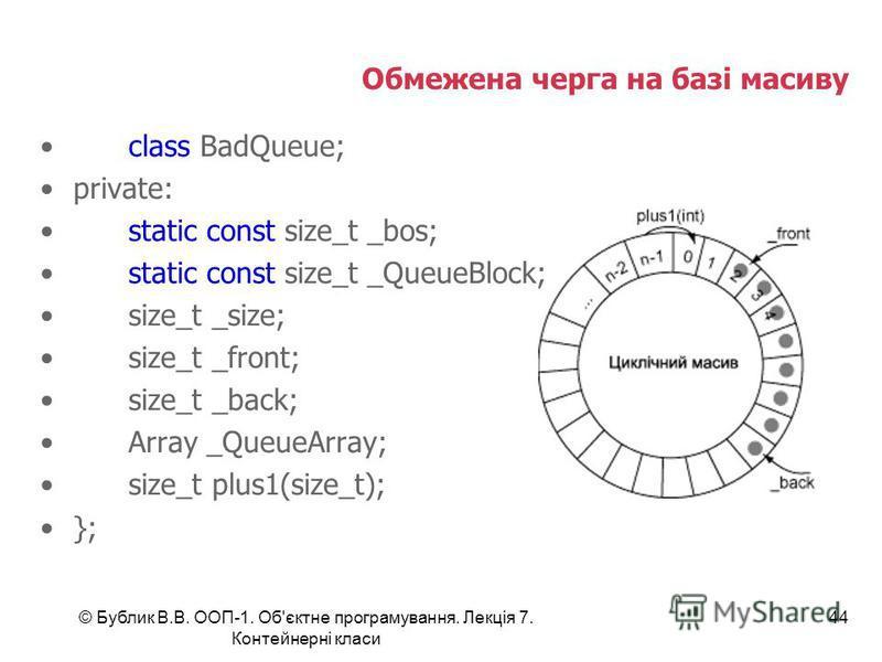 © Бублик В.В. ООП-1. Об'єктне програмування. Лекція 7. Контейнерні класи 44 Обмежена черга на базі масиву class BadQueue; private: static const size_t _bos; static const size_t _QueueBlock; size_t _size; size_t _front; size_t _back; Array _QueueArray