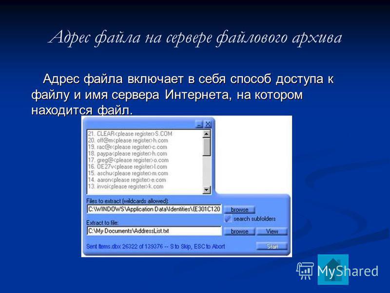 Адрес файла на сервере файлового архива Адрес файла включает в себя способ доступа к файлу и имя сервера Интернета, на котором находится файл.