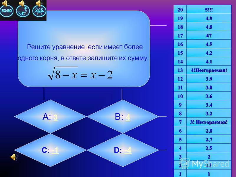 Решить уравнение: Если корней несколько, в ответе Запишите их произведение. А: -1 B: -2 -2 C: 4C: 4D: 22 205!!!194.9 184.8 1747 164.5 154.2 144.1 134!Несгораемая! 123.9 113.8 103.6 93.4 83.2 7 3! Несгораемая! 62,8 52,7 42.5 32 21.5 11