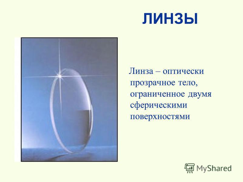 ЛИНЗЫ Линза – оптически прозрачное тело, ограниченное двумя сферическими поверхностями