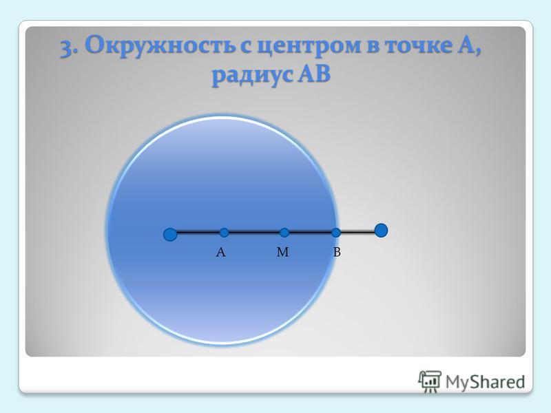 3. Окружность с центром в точке А, радиус АВ АМВ