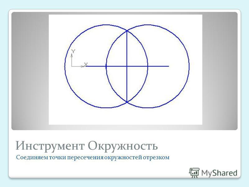 Инструмент Окружность Соединяем точки пересечения окружностей отрезком