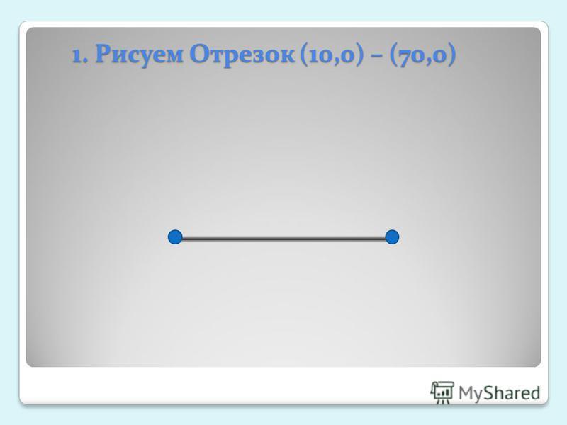 1. Рисуем Отрезок (10,0) – (70,0)