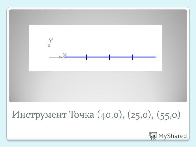 Инструмент Точка (40,0), (25,0), (55,0)