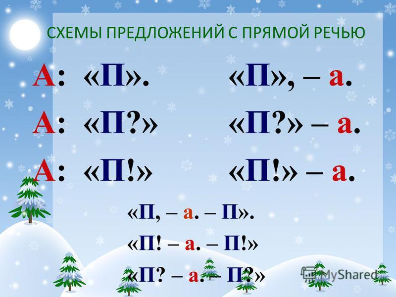 СХЕМЫ ПРЕДЛОЖЕНИЙ С ПРЯМОЙ РЕЧЬЮ А: «П». А: «П?» А: «П!» «П», – а. «П?» – а. «П!» – а. «П, – а. – П». «П! – а. – П!» «П? – а. – П?»