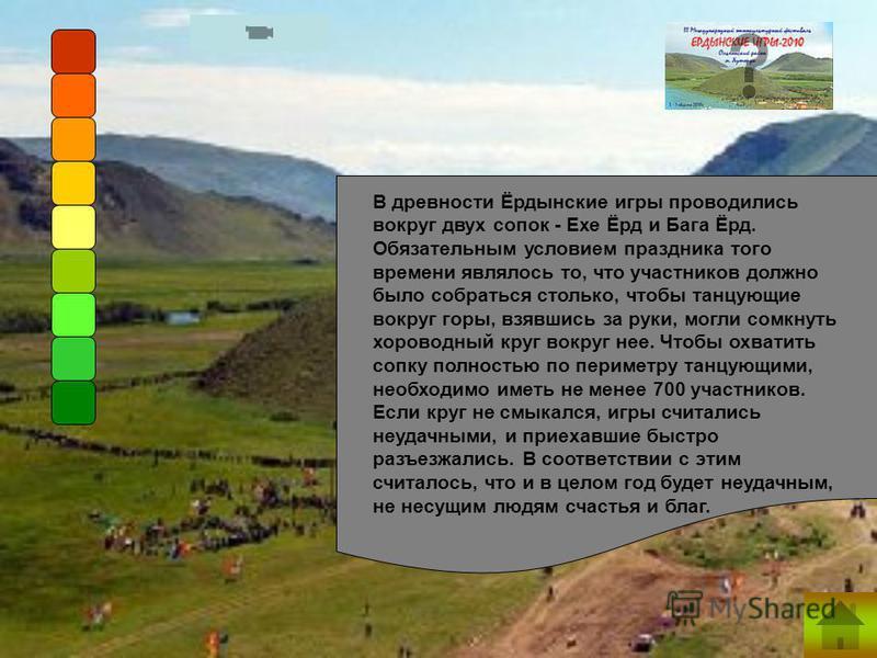 В древности Ёрдынские игры проводились вокруг двух сопок - Ехе Ёрд и Бага Ёрд. Обязательным условием праздника того времени являлось то, что участников должно было собраться столько, чтобы танцующие вокруг горы, взявшись за руки, могли сомкнуть хоров