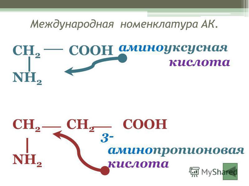 Международная номенклатура АК. CH 2 COOH NH 2 CH 2 CH 2 COOH NH 2 аминоуксусная кислота 3- аминопропионовая кислота