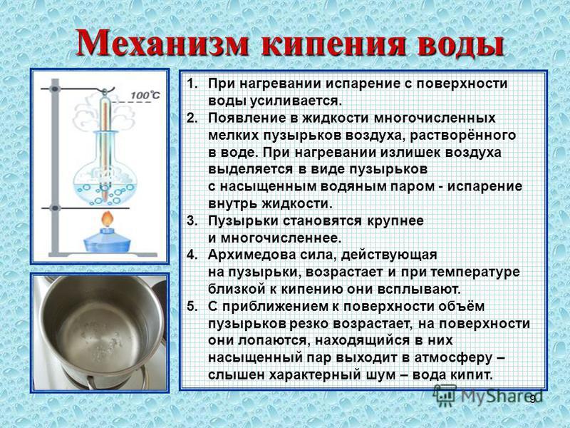 9 Механизм кипения воды 1. При нагревании испарение с поверхности воды усиливается. 2. Появление в жидкости многочисленных мелких пузырьков воздуха, растворённого в воде. При нагревании излишек воздуха выделяется в виде пузырьков с насыщенным водяным