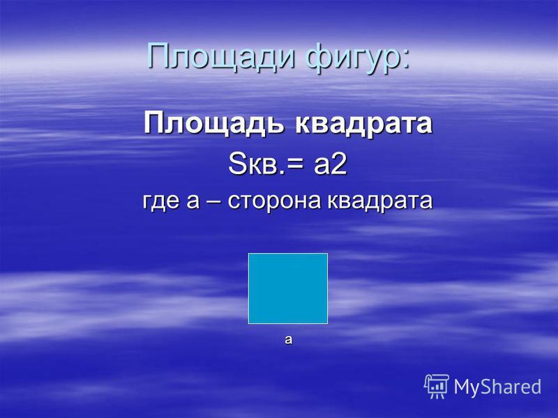 Площади фигур: Площадь квадрата Sкв.= а 2 где а – сторона квадрата а
