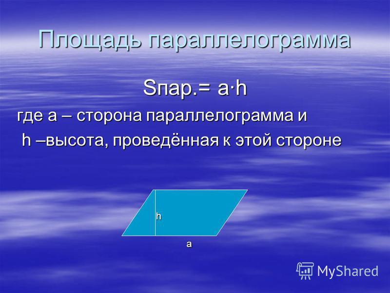 Площадь параллелограмма Sпар.= а·h где а – сторона параллелограмма и h –высота, проведённая к этой стороне h –высота, проведённая к этой стороне а h