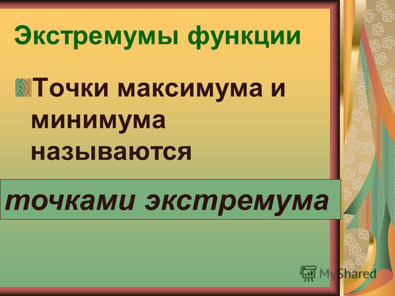 Экстремумы функции Точки максимума и минимума называются точками экстремума
