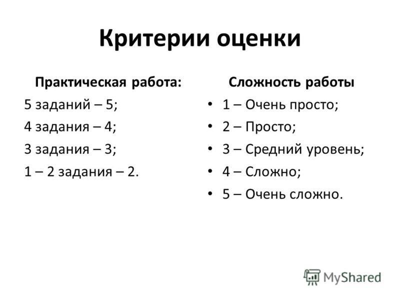Критерии оценки Практическая работа: 5 заданий – 5; 4 задания – 4; 3 задания – 3; 1 – 2 задания – 2. Сложность работы 1 – Очень просто; 2 – Просто; 3 – Средний уровень; 4 – Сложно; 5 – Очень сложно.