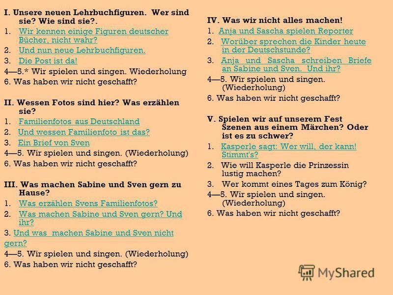 I. Unsere neuen Lehrbuchfiguren. Wer sind sie? Wie sind sie?. 1. Wir kennen einige Figuren deutscher Bücher, nicht wahr?Wir kennen einige Figuren deutscher Bücher, nicht wahr? 2. Und nun neue Lehrbuchfiguren.Und nun neue Lehrbuchfiguren. 3. Die Post