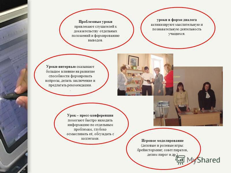 уроки в форме диалога активизируют мыслительную и познавательную деятельность учащихся. Уроки-интервью оказывают большое влияние на развитие способности формировать вопросы, делать заключение и предлагать рекомендации.. Игровое моделирование (деловые
