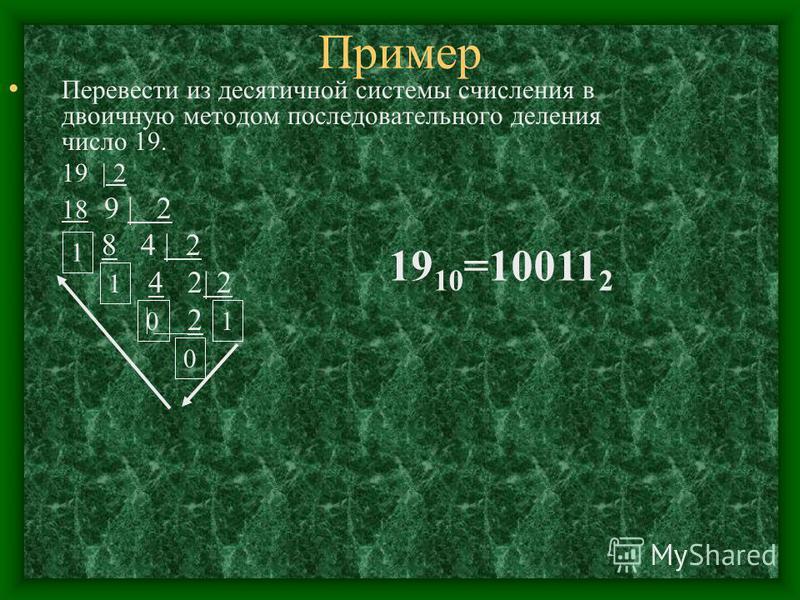 Пример Перевести из десятичной системы счисления в двоичную методом последовательного деления число 19. 19 | 2 18 9 | 2 8 4 | 2 4 2| 2 2 0 0 1 1 1 19 10 =10011 2