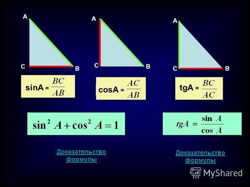 A C B A C B A CB sinA = tgA = cosA = Доказательство формулы Доказательство формулы