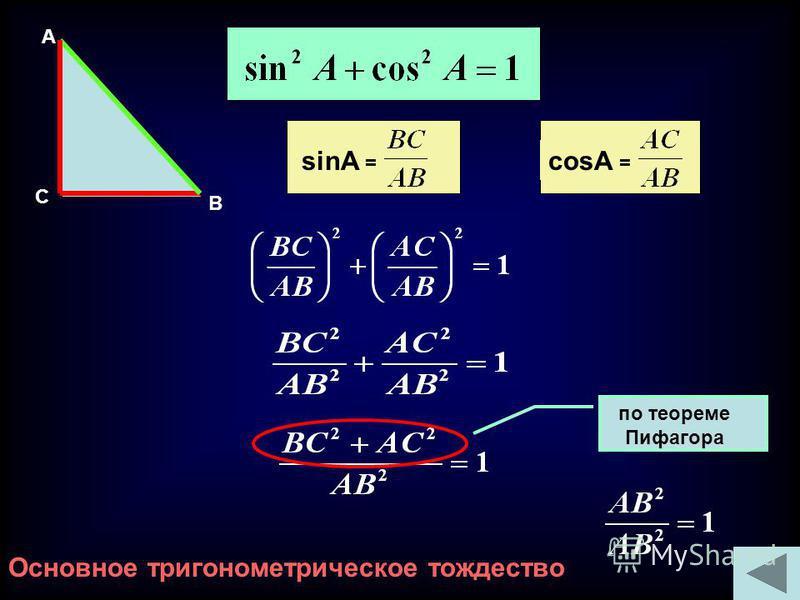 sinA = cosA = по теореме Пифагора Основное тригонометрическое тождество A C B