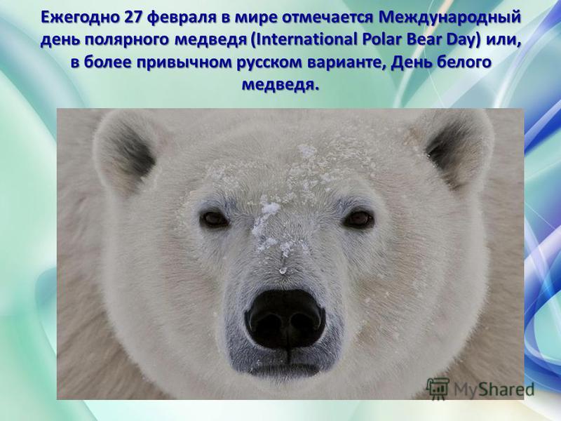 Ежегодно 27 февраля в мире отмечается Международный день полярного медведя (International Polar Bear Day) или, в более привычном русском варианте, День белого медведя. Ежегодно 27 февраля в мире отмечается Международный день полярного медведя (Intern