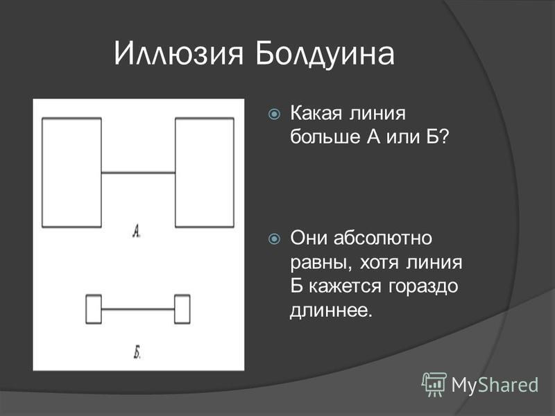 Иллюзия Болдуина Какая линия больше А или Б? Они абсолютно равны, хотя линия Б кажется гораздо длиннее.