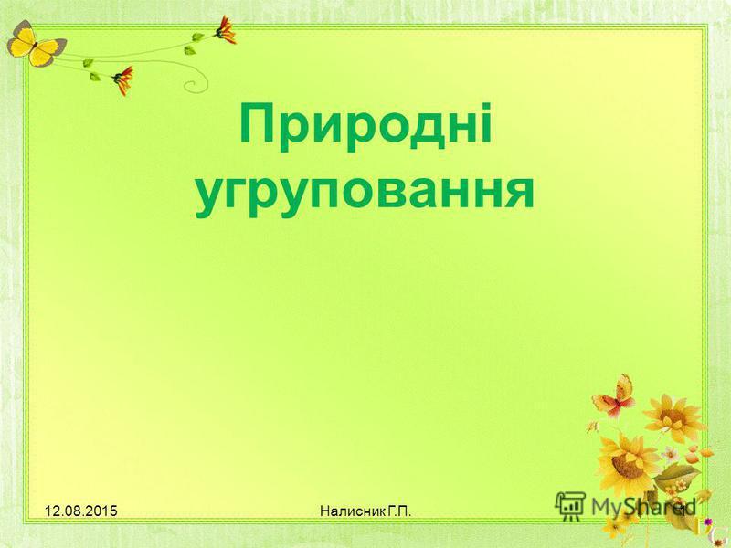 Природні угруповання 12.08.20151Налисник Г.П.
