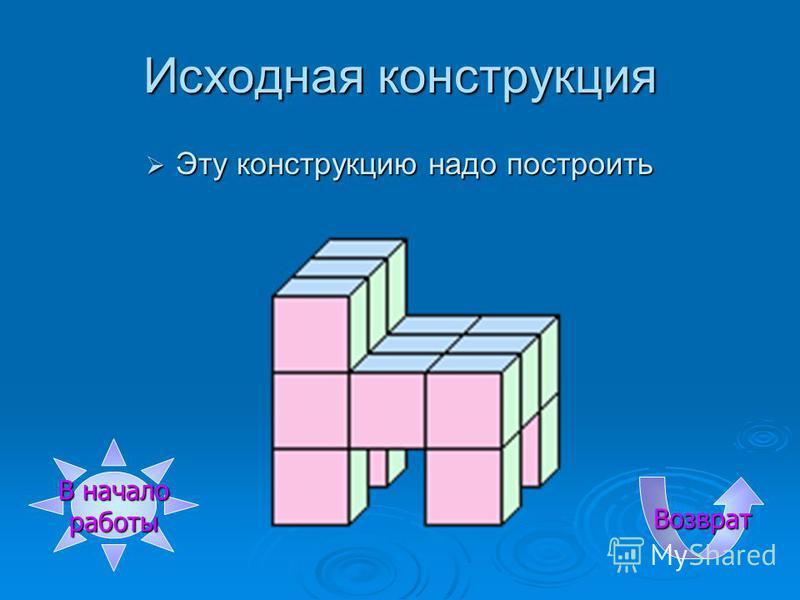 Третье построение Достраиваем из этик кубиков Выбери нужный кубик Выбери нужный кубик Кубик Б Кубик Б Кубик В Кубик В Кубик Г Кубик Г Кубик Д Кубик Д