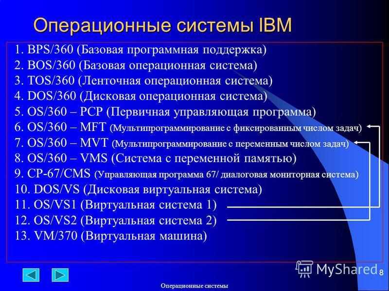 Операционюные системы 8 Операционюные системы IBM 1. BPS/360 (Базовая программная поддержка) 2. BOS/360 (Базовая операционная система) 3. TOS/360 (Ленточная операционная система) 4. DOS/360 (Дисковая операционная система) 5. OS/360 – PCP (Первичная у