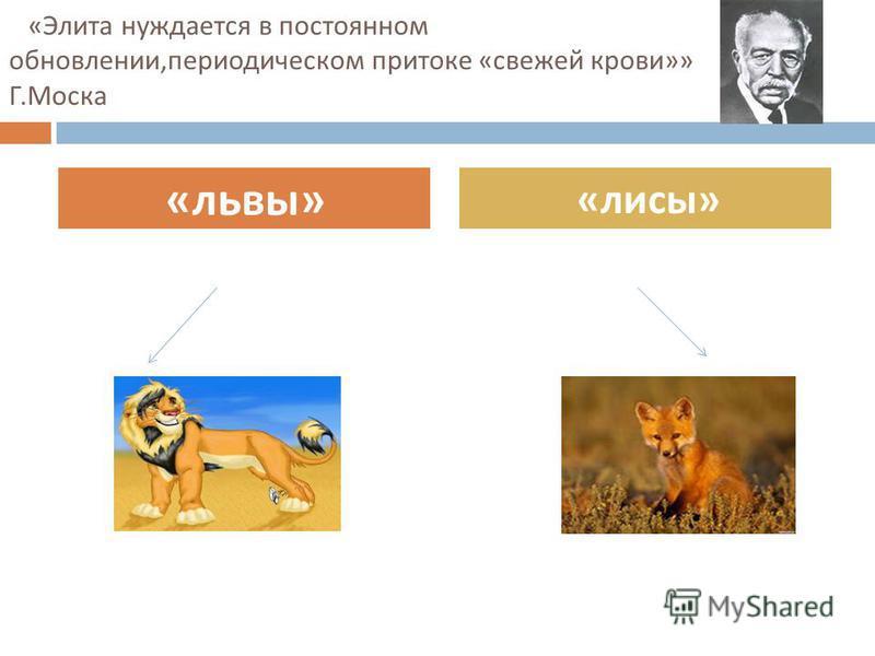 « Элита нуждается в постоянном обновлении, периодическом притоке « свежей крови »» Г. Моска « львы » « лисы »