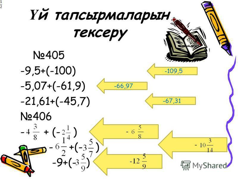 Ү й тапсырмаларын тексеру 405 -9,5+(-100) -5,07+(-61,9) -21,61+(-45,7) 406 - + (- ) -9+(- ) -109,5 -66,97 -67,31 - - -