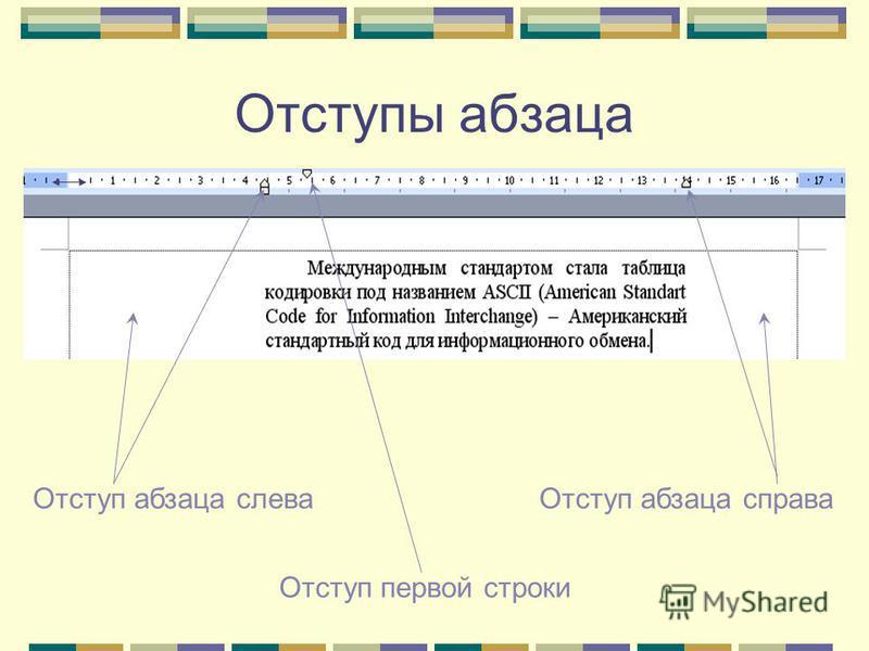 Отступы абзаца Отступ абзаца слева Отступ абзаца справа Отступ первой строки