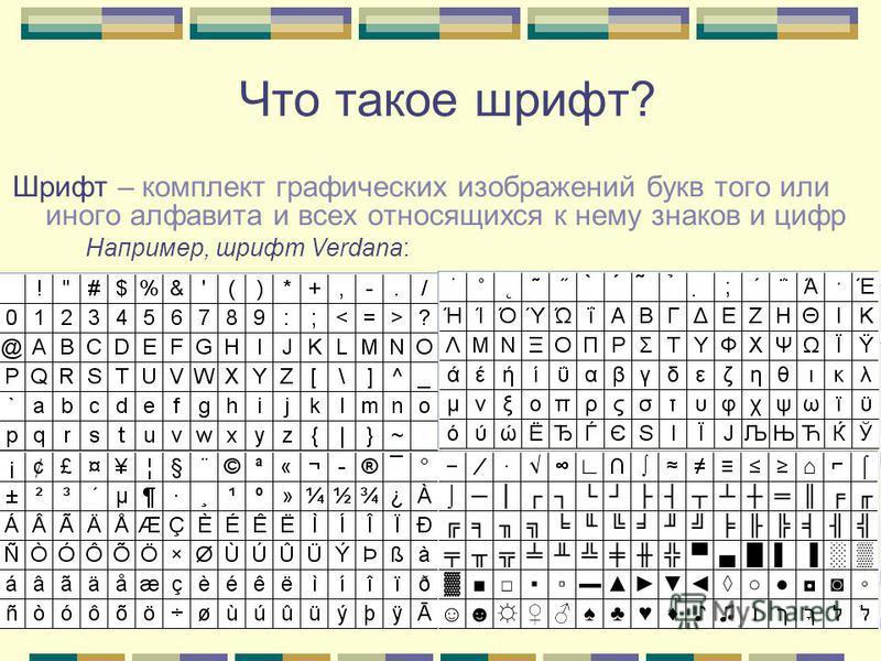 Что такое шрифт? Шрифт – комплект графических изображений букв того или иного алфавита и всех относящихся к нему знаков и цифр Например, шрифт Verdana: