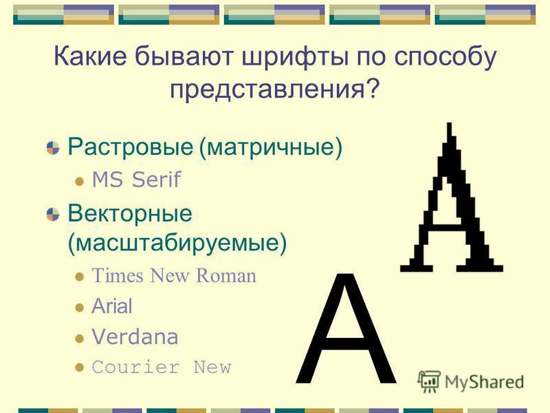 Какие бывают шрифты по способу представления? Растровые (матричные) MS Serif Векторные (масштабируемые) Times New Roman Arial Verdana Courier New