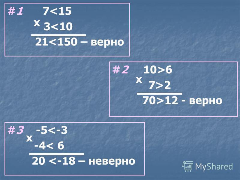 #1 7<15 3<10 21<150 – верно #2 10>6 7>2 70>12 - верно #3 -5<-3 -4< 6 20 <-18 – неверно х х х