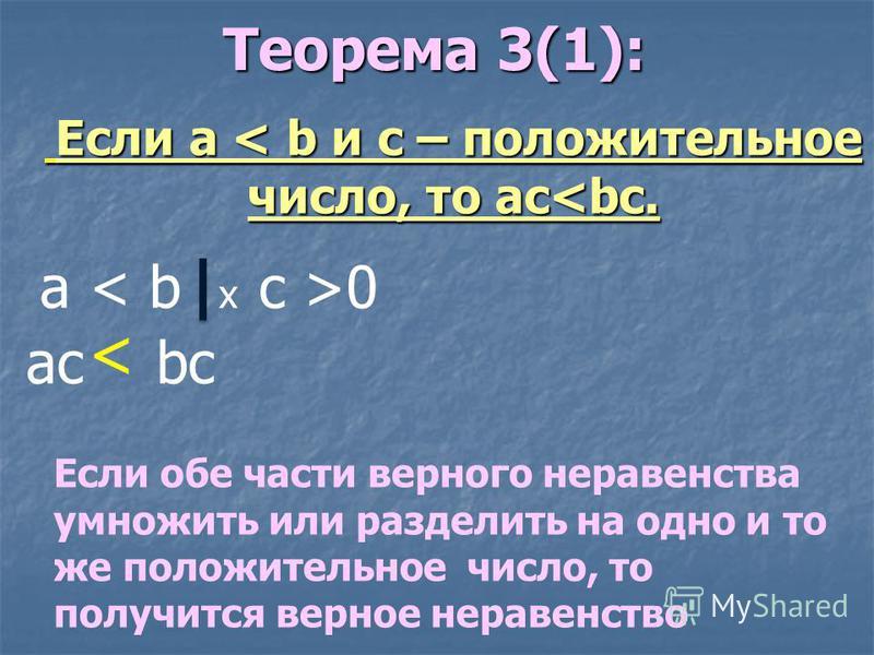 Теорема 3(1): Если a < b и c – положительное число, то ac<bc. a < b x c >0 ac bc < Если обе части верного неравенства умножить или разделить на одно и то же положительное число, то получится верное неравенство