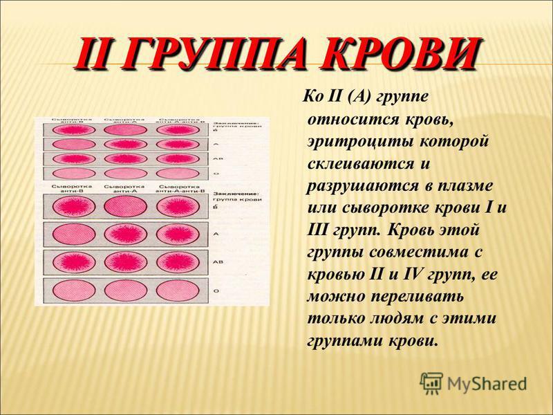 I ГРУППА КРОВИ К I (0) группе относится кровь, эритроциты которой не склеиваются в плазме или сыворотке других групп. Поэтому кровь I группы можно переливать всем людям. Заключение: группа крови – I УНИВЕРСАЛЬНЫЙ ДОНОР