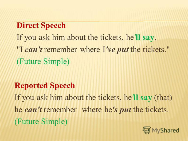 Direct Speech If you ask him about the tickets, he'll say, I can't remember where I've put the tickets. (Future Simple) Reported Speech If you ask him about the tickets, he'll say (that) he can't remember where he's put the tickets. (Future Simple)