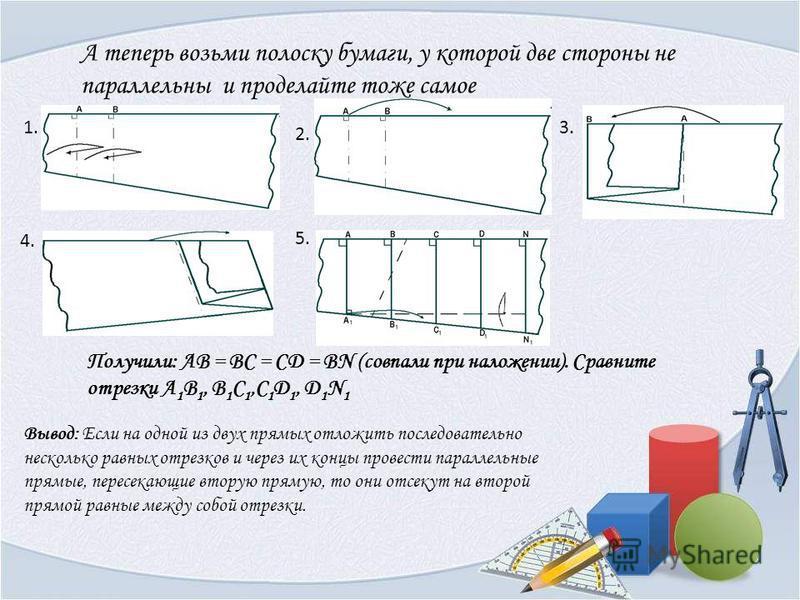 А теперь возьми полоску бумаги, у которой две стороны не параллельны и проделайте тоже самое Получили: АВ = BC = CD = BN (совпали при наложении). Сравните отрезки А 1 В 1, В 1 С 1,C 1 D 1, D 1 N 1 Вывод: Если на одной из двух прямых отложить последов