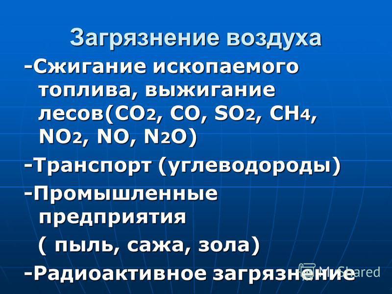 Загрязнение воздуха -Сжигание ископаемого топлива, выжигание лесов(CO 2, CO, SO 2, CH 4, NO 2, NO, N 2 O) -Транспорт (углеводороды) -Промышленные предприятия ( пыль, сажа, зола) ( пыль, сажа, зола) -Радиоактивное загрязнение