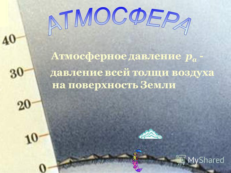 Атмосферное давление р а - давление всей толщи воздуха на поверхность Земли