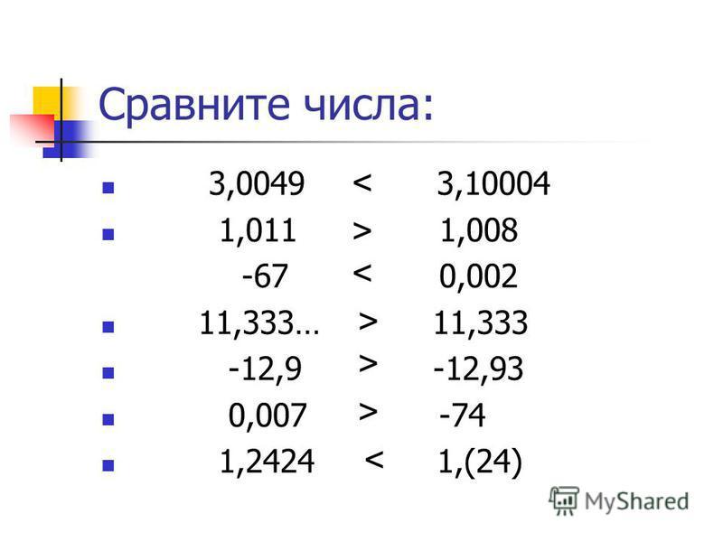 Сравните числа: 3,0049 3,10004 1,011 1,008 -67 0,002 11,333… 11,333 -12,9 -12,93 0,007 -74 1,2424 1,(24) > < < > > > <