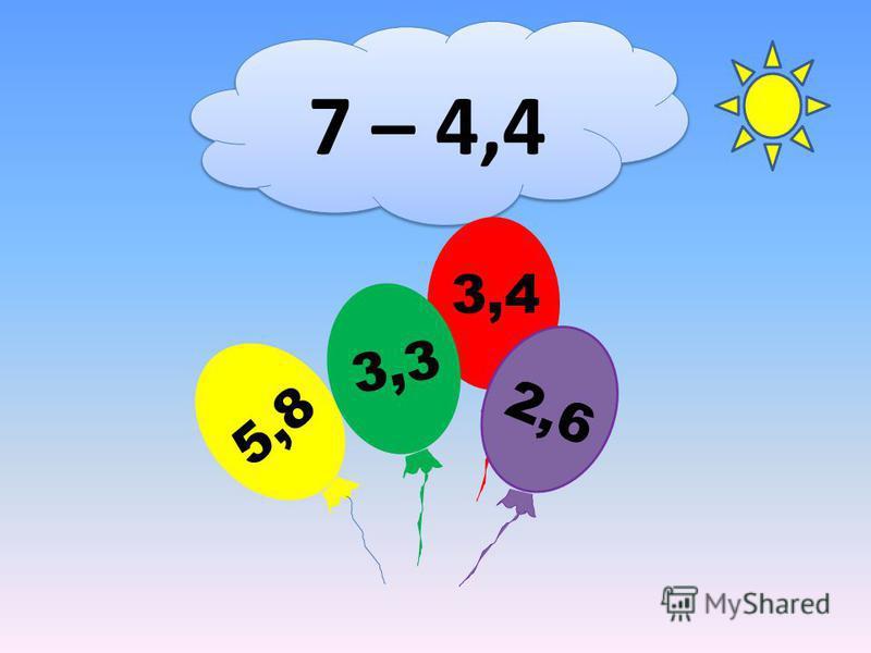 7 – 4,4 3,4 5,8 3,3 2,6